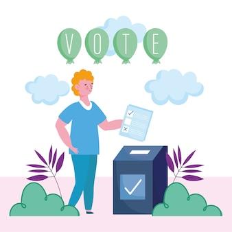 投票と選挙の概念、ボックスに投票用紙を入れる若い男