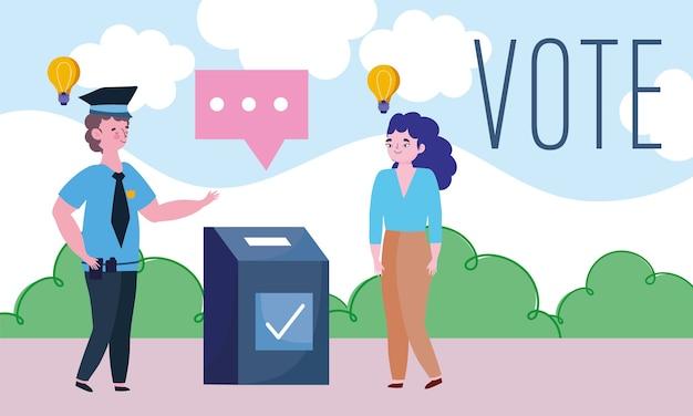投票と選挙の概念、場所の投票で若い女性