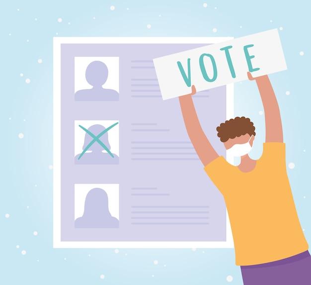 Голосование и выборы, человек в маске и бумажном голосовании, список кандидатов