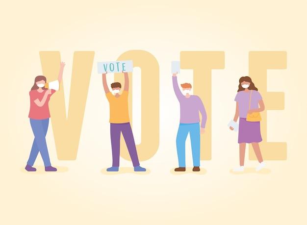 Голосование и выборы, люди с маской в кампании с громкоговорителем и вектор голосования слова