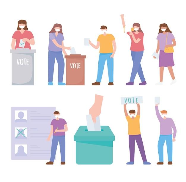 Голосование и выборы, люди с маской, кладут бюллетень в ящик, список кандидатов, набор векторных иконок