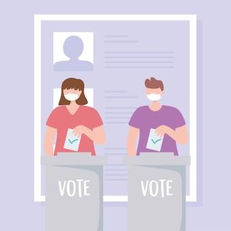 Голосование и выборы, люди в медицинской маске кладут бюллетени в коробки иллюстрации