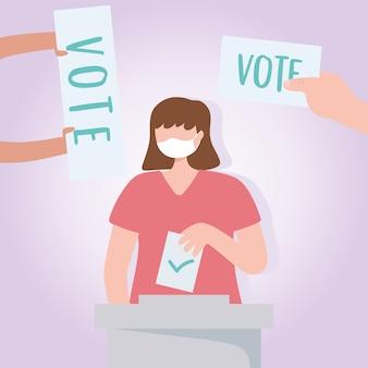 Голосование и выборы, женщина с медицинской маской, помещающая бумажное голосование и руки с вектором бюллетеней