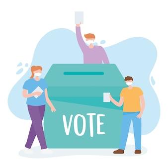 Голосование и выборы, молодые люди в медицинской маске, выбор кандидатов