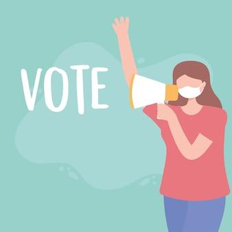 Голосование и выборы, молодая женщина с маской и мегафоном