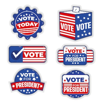 Коллекция значков и наклеек для голосования