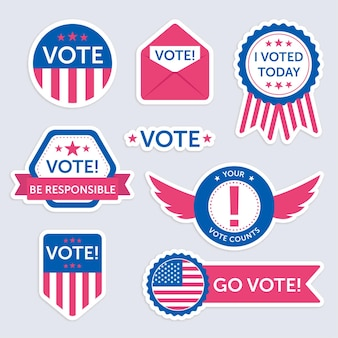 Voting badges and stickers pack