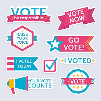 Voting badges and stickers set