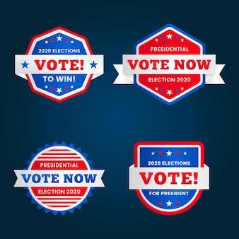 Modello di badge e adesivi di voto