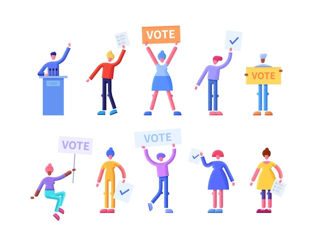 투표 게시판 및 징후와 함께 행복 한 유권자와 투표 개념 평면 그림