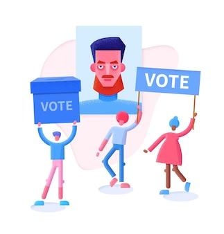 投票コンセプトフラットイラスト