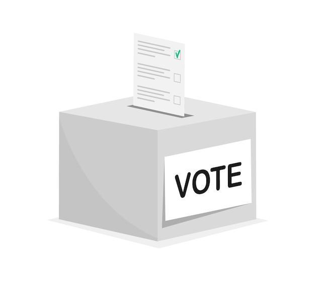 Voting concept hand puts voting ballot in vote box