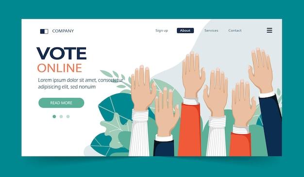 Концепция голосования люди руки вверх в воздухе