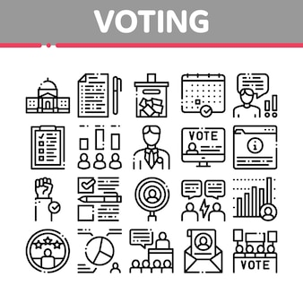 Voting and election collection icons set