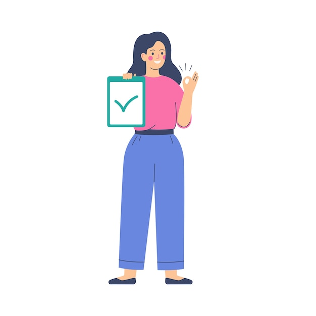 Voting and election concept. woman activist is calling for votes. pre-election campaign. Premium Vector