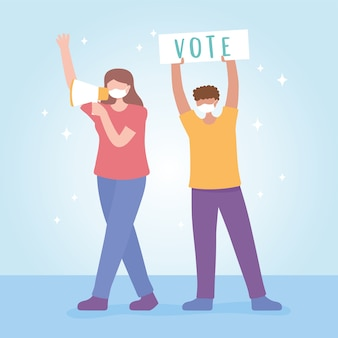 Voting and election, people with megaphone and placard campaign