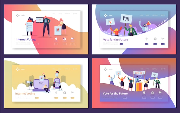 Voting elections landing page template set. business people characters internet voting, political meeting concept for website or web page.