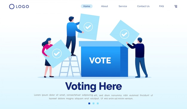 Voting here landing page website illustration vector template