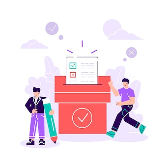 Voting. man are putting their ballot papers into the big paper voting box. e-voting. vector illustration