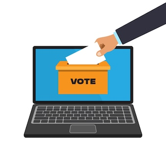 Voting online concept in a flat style.