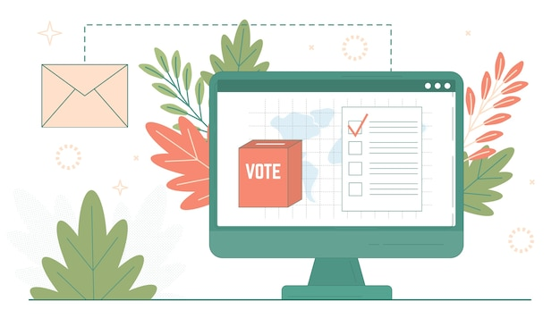 Voting paper in the ballot box on computer screen