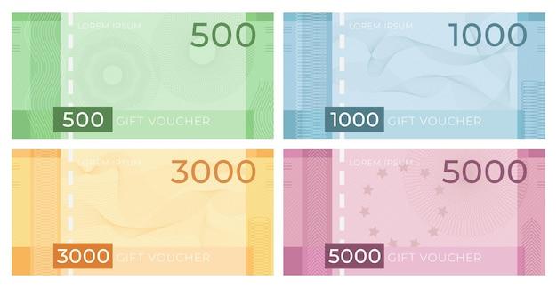 기로 쉐와 바우처 지폐입니다. 워터마크 패턴이 있는 돈 디자인의 할인 인증서. 선물 쿠폰 또는 통화 벡터 집합입니다. 일러스트 인증서 기로쉐 패턴, 비즈니스 쿠폰 선물