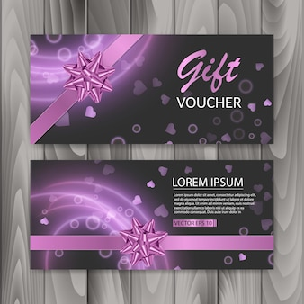 Voucher, gift certificate. happy valentine's day gift banners
