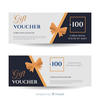 Voucher for a gift with ribbons