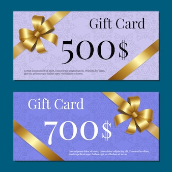 Voucher gold bow ribbons