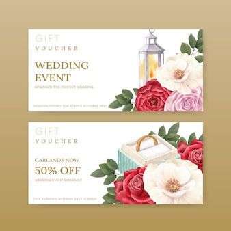 Voucher tempalte with red navy wedding concept, watercolor style