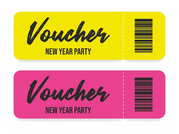 Voucher template design yellow and purple