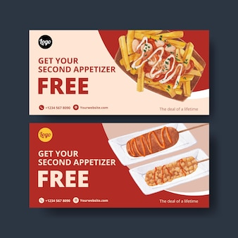 Voucher template with american foods concept,watercolor style
