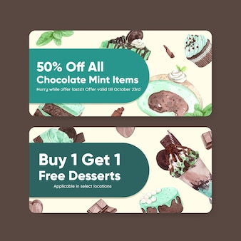 Voucher template with chocolate mint dessert in watercolor style