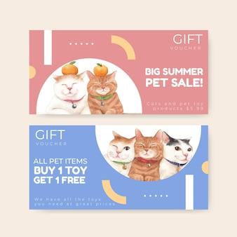 수채화 스타일의 귀여운 고양이와 바우처 템플릿