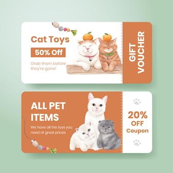 Voucher template with cute cat in watercolor style