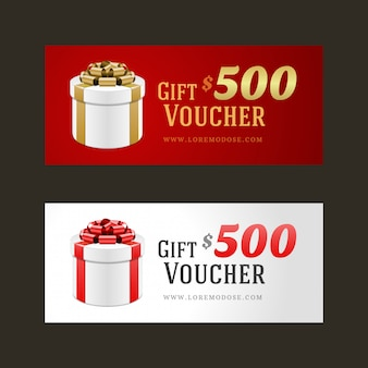 Voucher template with gift box and bow