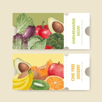 Modello di buono con concetto di cibo sano, stile acquerello