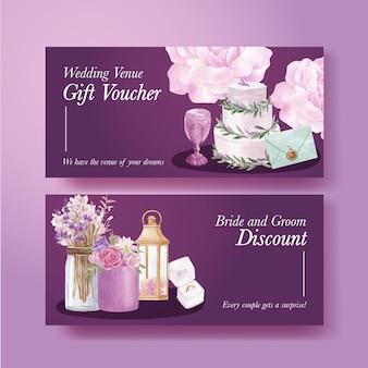 Ваучер шаблон с сиреневой фиолетовой свадебной концепцией в акварельном стиле