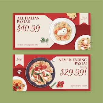 Voucher template with pasta cancept,watercolor style
