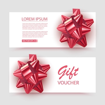 Voucher template with red bow ribbons design usable for gift coupon voucher invitation certificate