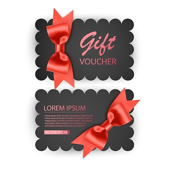 Voucher template with red bow ribbons design usable for gift coupon voucher