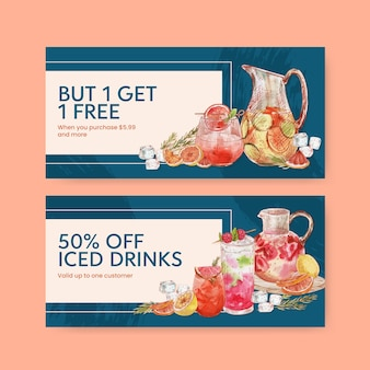 Voucher template with refreshment drinks concept,watercolor style