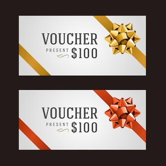 Voucher template with ribbon and bow