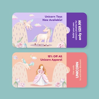 Voucher template with unicorn in watercolor style