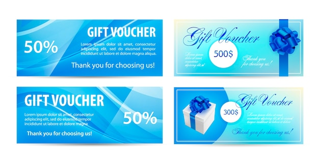 Voucher template with wavy background and blue bow ribbons.