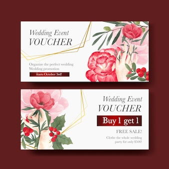 Voucher template with winter floral concept,watercolor style