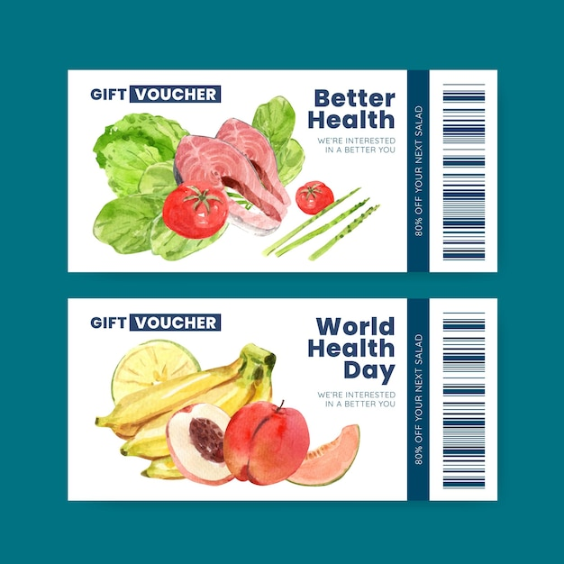 Voucher template for world health day in watercolor style