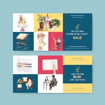 Voucher templates with international artists day in watercolor style