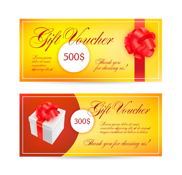 Voucher templates with red bow ribbons.