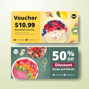Modelli di voucher per la giornata mondiale vegetariana in stile acquerello